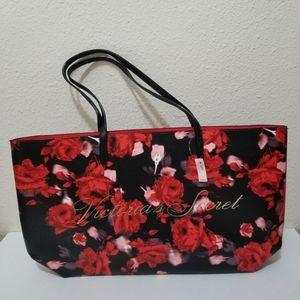 Victoria's Secret Floral Tote Bag Purse Large Red